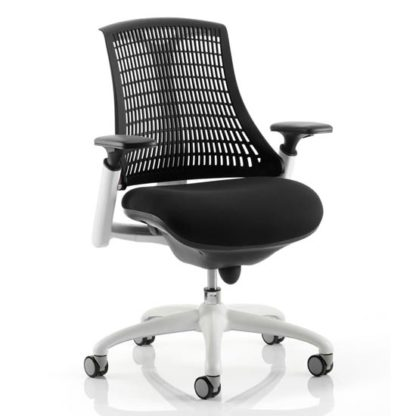 An Image of Flex Task Office Chair In White Frame With Black Back