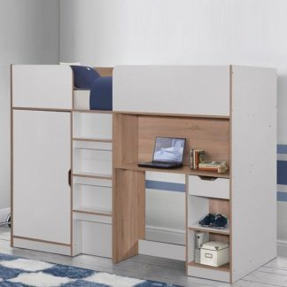 An Image of Camila Wooden High Sleeper Bed In Light Oak And White