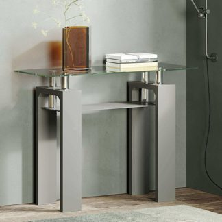 An Image of Willis Glass Console Table In Clear With Grey High Gloss Legs