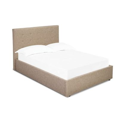 An Image of Lucca Plus Fabric Double Bed In Beige