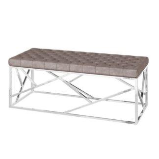 An Image of Kieta Velvet Fabric Upholstered Dining Bench In Mink
