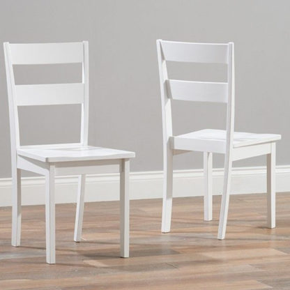 An Image of Antlia White Wooden Dining Chairs In Pair