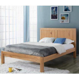 An Image of Bellevue Wooden Double Bed In Oak