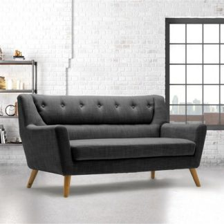 An Image of Stanwell 3Seater Sofa In Grey Fabric With Wooden Legs