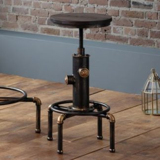 An Image of Rockport Pipework Bar Stool In Brushed Copper And Rustic Elm
