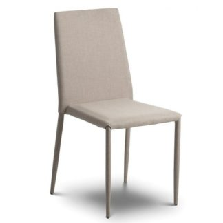 An Image of Fredo Fabric Dining Chair In Sand Linen