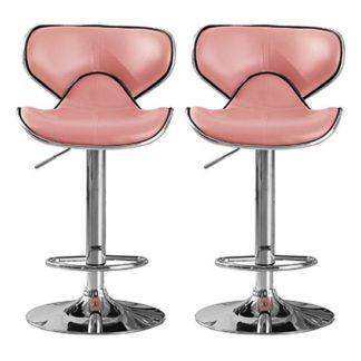 An Image of Hillside Pink PU Leather Bar Stool In Pair With Chrome Base