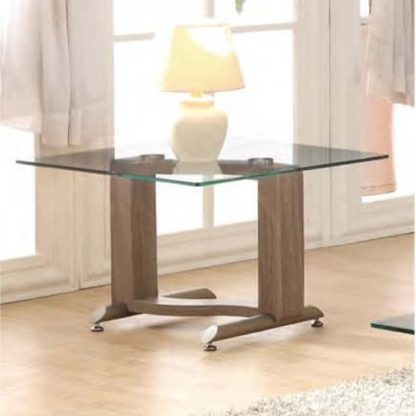 An Image of Manta Clear Glass Lamp Table With Walnut Base