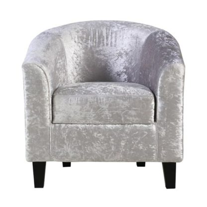 An Image of Crushed Velvet Tub Chair In Silver