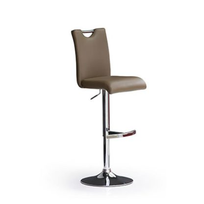 An Image of Bardo Cappuccino Faux Leather Bar Stool With Round Chrome Base