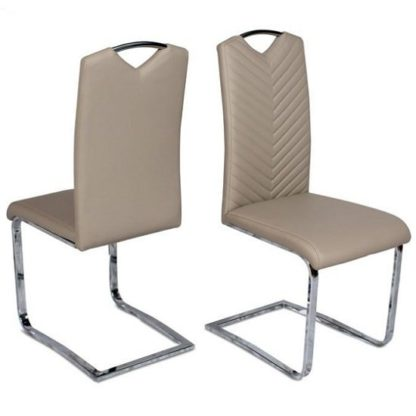 An Image of Marconi Cantilever Dining Chair In Taupe Faux Leather In A Pair