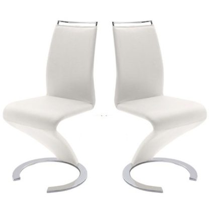 An Image of Summer Z Shape Dining Chair In White Faux Leather in A Pair