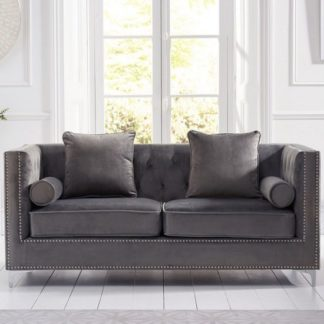 An Image of Mulberry Modern Fabric 3 Seater Sofa In Grey Velvet