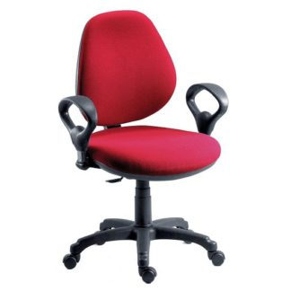 An Image of Nido Fabric Adjustable Office Chair In Red Finish With Wheels