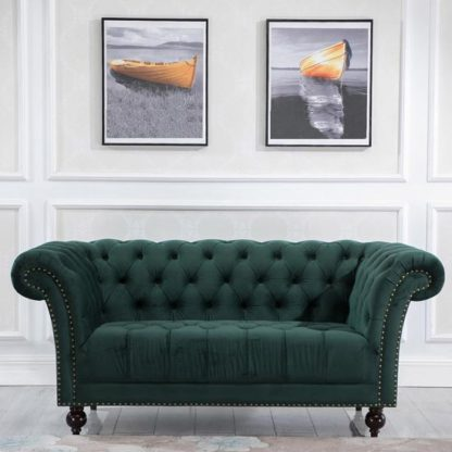 An Image of Chester Fabric 2 Seater Sofa In Midnight Green Velvet