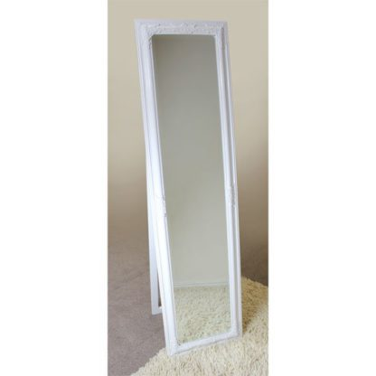 An Image of Rocco Cheval Floral White Frame Freestanding Mirror