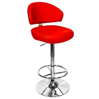 An Image of Casino Red Leather Bar Stool With Chrome Base