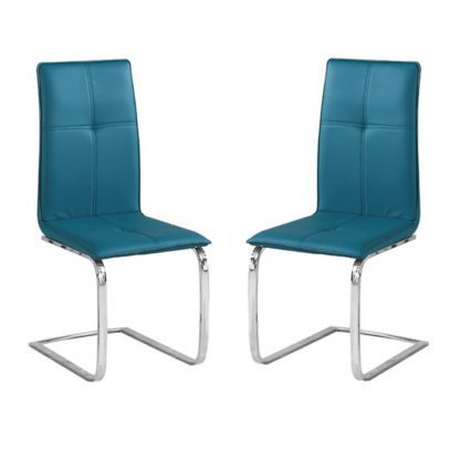 An Image of Opus Teal Finish Dining Chair In Pair