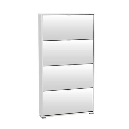 An Image of Dylan Wooden Tall Shoe Cabinet In Pearl White