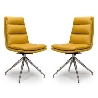 An Image of Nobo Ochre Faux Leather Dining Chair In A Pair With Steel Legs