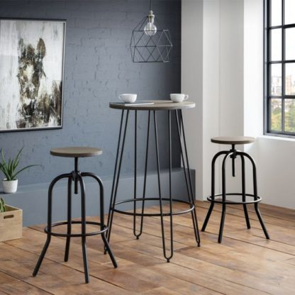 An Image of Dalston Bar Set In Mocha Elm With 2 Spitfire Stools