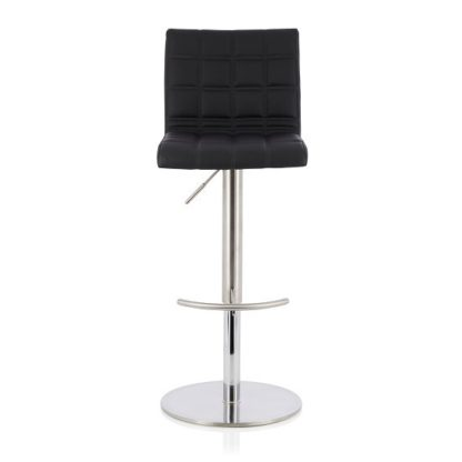 An Image of Jorden Bar Stool In Black Faux Leather And Stainless Steel Base
