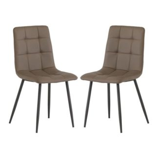 An Image of Virgo Taupe Faux Leather Dining Chair In Pair