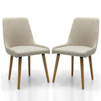 An Image of Kelcy Dining Chair In Natural Linen With Wooden Legs In A Pair