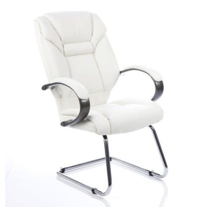 An Image of Galloway Leather Cantilever Visitor Chair In White With Arms