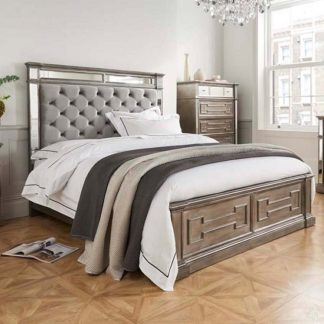 An Image of Alloa Mirrored Face Super King Size Bed In Silver And Grey