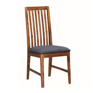 An Image of Trimble Dining Chair In Rich Acacia With Grey Fabric Seat