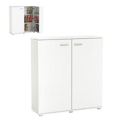 An Image of Gabriella Wooden Shoe Cabinet In Pearl White With 2 Doors