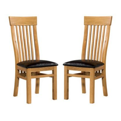 An Image of Empire Solid Oak Dining Chairs In Pair