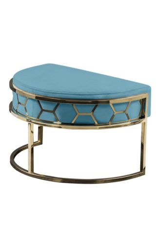 An Image of Alveare Footstool Brass -Teal