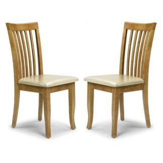 An Image of Cainsville Wooden Dining Chairs In Maple Lacquered In A Pair