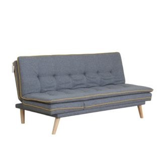 An Image of Candy Contemporary Sofa Bed In Grey Fabric With Wooden Legs