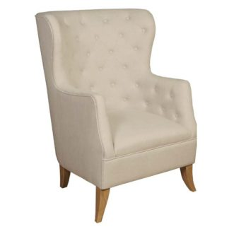 An Image of Pegasi Linen Fabric Lounge Chaise Armchair In Beige