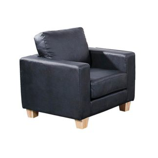 An Image of Wasp PU Leather 1 Seater Sofa In Black