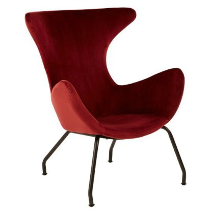 An Image of Giausar Metal Legs Chair In Red Fabric