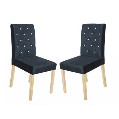 An Image of Kilcon Dining Chair In Black Velvet And Diamante in A Pair