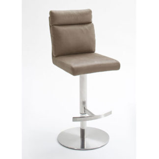 An Image of Rabea Fabric Bar Stool In Sand With Stainless Steel Base