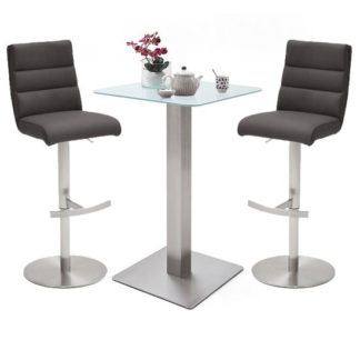 An Image of Soho Glass Bar Table With 2 Hiulia Anthracite Leather Stools