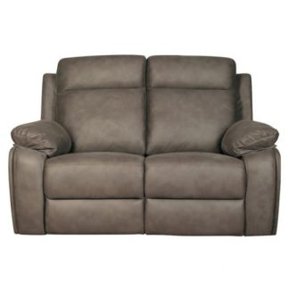 An Image of Denton Contemporary Fabric Recliner 2 Seater Sofa In Grey