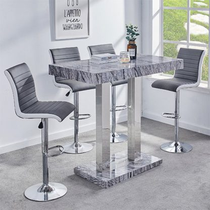 An Image of Melange Gloss Marble Effect Bar Table 4 Ritz Grey White Stools