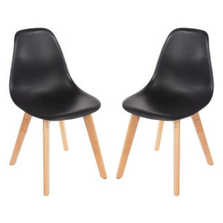 An Image of Arturo Black Bistro Chair In Pair With Wooden Legs
