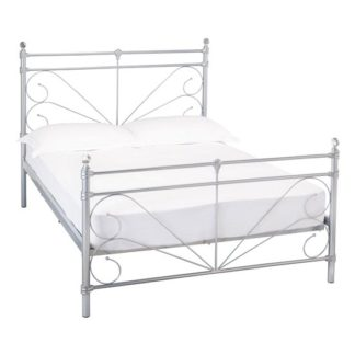 An Image of Sienna Metal King Size Bed In Silver