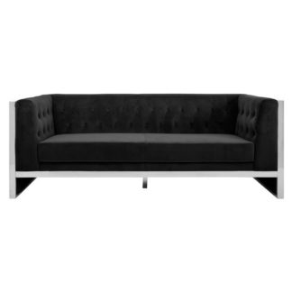 An Image of Sceptrum 3 Seater Velvet Sofa In Black