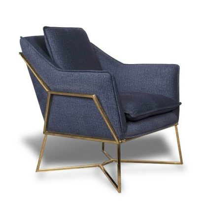 An Image of Morley Lounge Chair In Midnight Blue Denim Effect Golden Frame