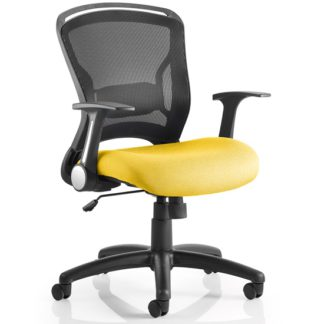 An Image of Mendes Contemporary Office Chair In Yellow With Castors
