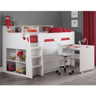 An Image of Fenton Midsleeper Children Bed In White With Storage And Desk